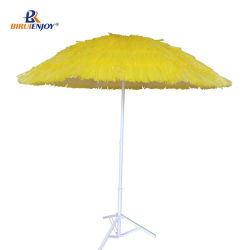 Seaside Beach Umbrella With 7 Layer Pp Straw Metal Pole 2 Meter Parasols