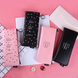 Cute Pink Pencil Case for Girls Kawaii Black White DOT PU Leather Pen Bag Stationery Pouch Office School Supplies Zakka Escolar