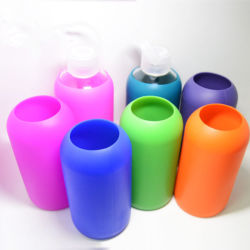 420ml Sport Glass Water with Colorful Soft Silicone Grip Glass Water Bottle Silicone