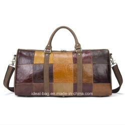 Custom Genuine Cowhide Leather Sports Tote Bag Mens Character Luggage Travel Bag Duffle Bag