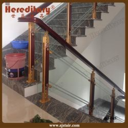 Aluminum And Wood Glass Balustrade For Staircase