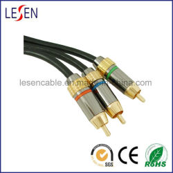 RGB Component Video Cable, 3 RCA to 3 RCA, with Metal Cover