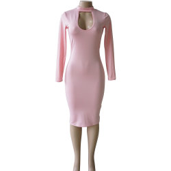 Stock Long-Sleeve Slim Sexy Skirt Prom Bodycon Dress