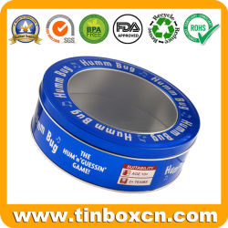 Round Window Tin with Clear Lid for Food Tin Box Packing