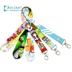 Free Sample No Minimum Bulk Cheap Polyester Keychain Neck Strap Personalized Sublimation Printed Breakaway Cartoon Japanese Anime Neck Lanyard with Logo Custom