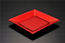 """7""""18cm Elegant Red Gold Disposable Plastic PS Wedding Party Plate (S071819)"""