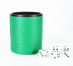 Wholesale Promotional Item Custom Logo Printing Leather Dice Shaker KTV Bar Entertained Leather Dice Cup with Custom Dice