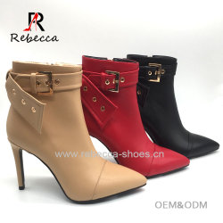 1b9a9ec690e7 China Women Buckle Leather Winter Ankle Boots Ladied Sexy Shoes
