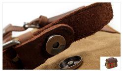 Waxed Canvas Cowhide Leather Waterproof Handbag Laptop Messenger Bag (RS-16960)