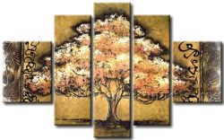 Pelicate Good Price Landscape Gold Leaves Oil Painting Wall Art
