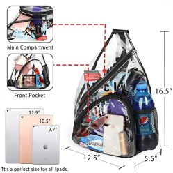 Clear Backpack Stadium Approved with Adjustable Strap for Leisure, Sport