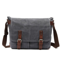 d652c92c3a Newest Designer Vintage Crazy Leather Bag Waterproof Waxed Canvas Laptop  Sling Messenger Bag (RS-
