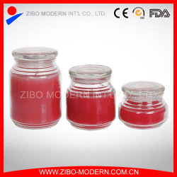 Wholesale Clear Flat Top Glass Candle Jar with Glass Lid