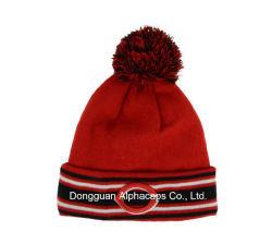 School POM POM Cuff Beanie Hat with Embroidery Logo