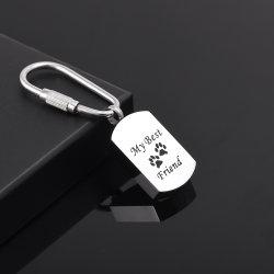 Wholesale Stainless Steel Keepsake Dog Paw Pet Cremation Urn Keychain