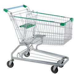 Supermarket Shopping Trolley with Four Wheels and From Factory Wholesale