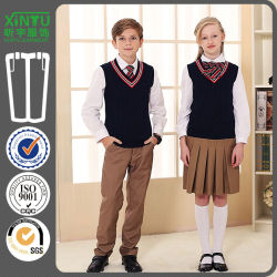 e63ef53443 Beautiful Sweat Vest Band Primary School Uniform Designs Customized Sweater  Skirt and Pants 3 Pieces Set