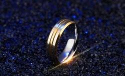 Top Quality 6.0mm Interval Gold Stainless Steel Ring for Men Elegant Wedding Engagement Male Anel