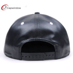 3D Embroidery Logo PU Leather Flat Brim 6 Panel Snapback Cap for Wholesale
