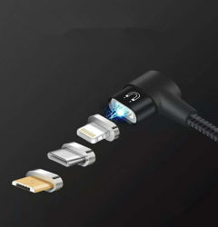 New Design 90 Degree 3 in 1 Magnetic USB Data Cable