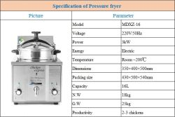 Cnix New Product Mdxz-16 Electric Table Top Pressure Fryer