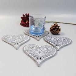 En71 ASTM Standard Polyresin Coaster in Heart Shape
