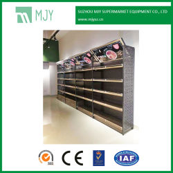 Supermarket Steel and Wooden MDF Structure Wall Display Shelf with LED Lights