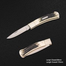 Folding Knife with Ox Bone Handle, Closed Length: 98mm (#3719-R)