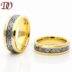 e439593fad New Tungsten Couple Ring Gold-Color Ring with Black Carbon Fiber Based and  Silver Dragon