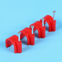 Cable Holder Clip, Round Flat Cable Clip with Steel Nail, Full Sizes 3.5mm to 40mm