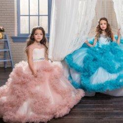 4e4457b2fe 2019 Girls Pageant Prom Ball Gown Ruffle Flower Girl Dresses N83