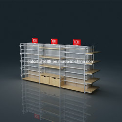 Custom Miniso Style Wooden Display Table Perfume Beauty Supply Display Shelf Candy Showcase Shelves for Groceries Retail Shop Rack