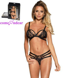 b2ee034bf0c59 Box Package Black Leather Sexy Hot Lace Bra and Panty Set