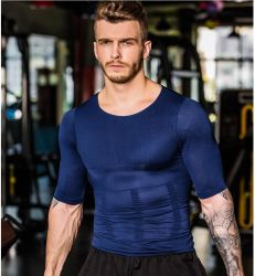 Men's Compression Sports Shirt Short Sleeve Seamless Printing Cool Athletic Tank Tee Clothes