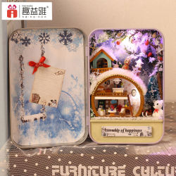 Wholesale with Light and Furniture Dollhouse DIY Wooden Kids Tin Box