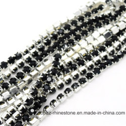 Glass Beads Brass Cup Chain Ss38 Rhinestone Chain for Lace (TCS-SS38 crystal)