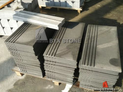 Natural Black Stone Steps Risers Sandstone Exterior Stair Treads
