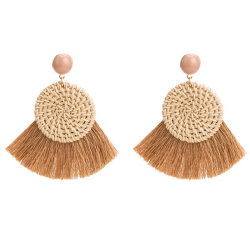 Bohemia Handmade Straw Woven Rattan Knit Tassel Earring Statement Jewelry