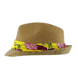 3f0c0d464ce86 Custom Promotional Fedora Hats Summer Paper Straw Hat with Flower Trim