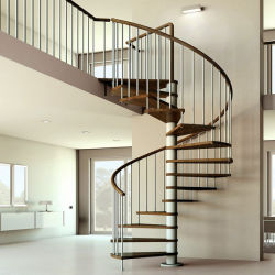 Wrought Iron Wooden Spiral Staircase For Indoor