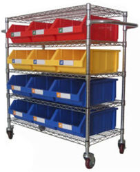 China Wire Shelving Trolley With Storage Bin, Wire Shelving Trolley ...
