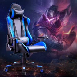 Gaming Chair Racing Office Computer Game Chair Ergonomic Backrest and Seat Height Adjustment Recliner Swivel Rocker with Headrest and Lumbar Pillow E-Sports Cha