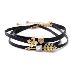 Fashion Punk Necklace New Fashion Alloy Flower Crystal Heart Black Leather Chokers Necklace Charm Jewelry