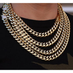 146f27add9e Miss Jewelry PVD Plating Hip Hop Gold Diamond Cuban Chain Chain Necklace  Jewelry for Men