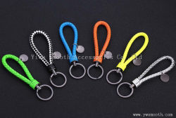 Fashion Color Woven Rope Key Chain Steel Ring Pendant Bag