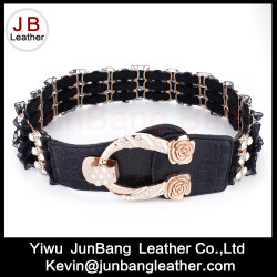 2018 Latest Popular Women's Lace Metal Hardward Elastic Belt