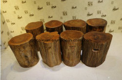 Solid Wood Chopping Block Large Supporting Roots Log Table Fixed Base Plate Tea Stools Wood Block Low Chair (M-X3319)
