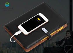 Manufacturer 2018 Custom Logo Luxury PU Leather Business Diary Notebook with Power Bank and USB