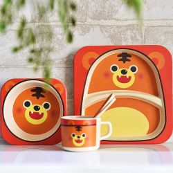 Wholesale Promotional Gifts Biodegradable Bamboo Fiber Baby Tableware Sets