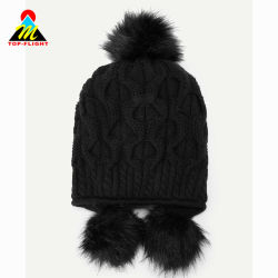 64bb1c1a892a4 Snug Cable Pattern Trapper with Pompom Cord Beanie Hat